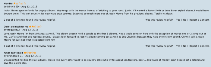 Angry Justin Moore fans